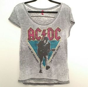H&M Divided - ACDC '79 World Tour Thin Gray TShirt